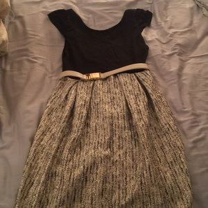 Silver tweed skirted dress